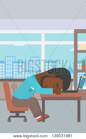 An african-american tired businessman sleeping on laptop keyboard in the office. Businessman resting at workplace. Vector flat design illustration. Vertical layout.
