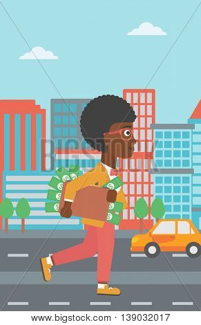 An african-american young business woman walking in the city with suitcase full of money. Vector flat design illustration. Vertical layout.