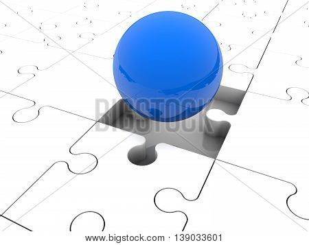 Blue ball on puzzle pieces . 3D illustration