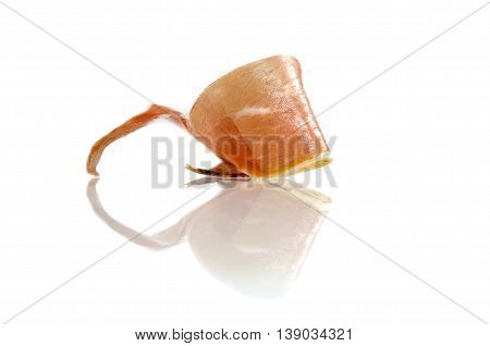 Slice Of Cured Iberian Ham, Bellota Ham, Serrano With Reflections Over White Background. Gourmet Spa