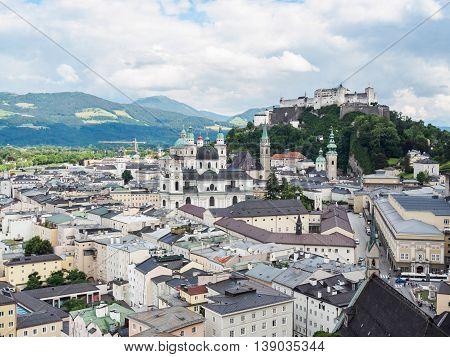 Salzburg castle (Festung Hohensalzburg) in Salzburg Austria.