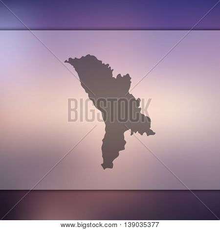 Moldavia map on blurred background. Blurred background with silhouette of Moldavia. Moldavia. Moldavia map.