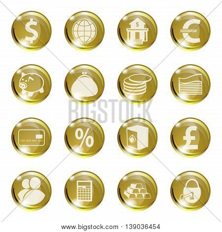 Set of icons of gold color on a subject bank. Business and Finance. Grouped for easy editing. Vector images.