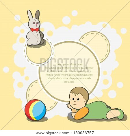 Card for kids congratulation. Vector illustration. It is easy to edit. In gallery also card different colors. Perfect for invitations or announcements.