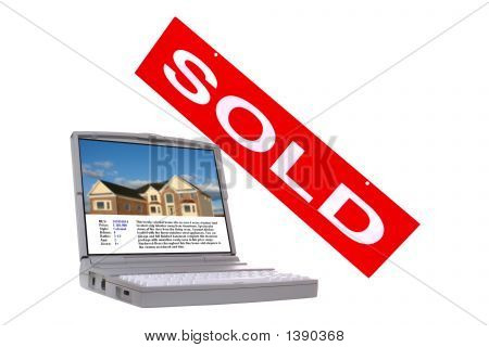 Real Estate Property Listing Screen and Sold Sign