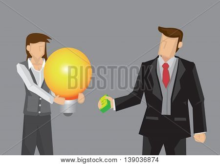 Cartoon business using money to buy over a giant light bulb which symbolizes bright idea. Cartoon vector illustration on concept of acquisition of business idea isolated on grey background.
