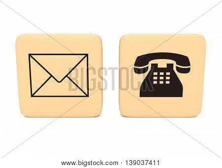 Letter and telephone icons on wooden pieces 3d illustration