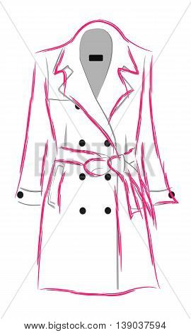 Womens demi-season double-breasted coat with a belt