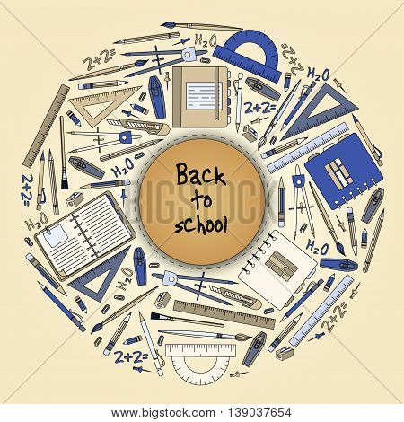 Back To School Title Texts With  Items In A Circle For Poster Design
