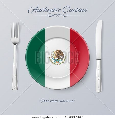 Authentic Cuisine of Mexico. Plate with Mexican Flag and Cutlery