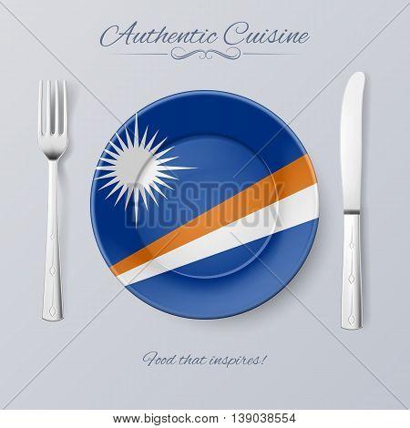 Authentic Cuisine of Marshall Islands. Plate with Flag and Cutlery