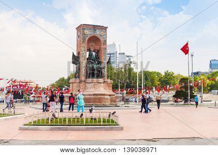 People On Taksim Square Near Republic Monument