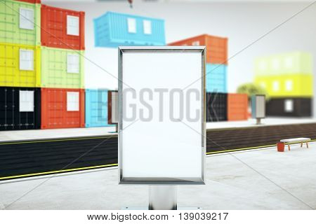 Closeup of blank ad stand in the street and colorful cargo containers on grey background. Mock up 3D Rendering