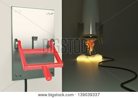 Startup concept with abstract launching rocket ship connected to turned down lever switch on dark grey background. 3D Rendering