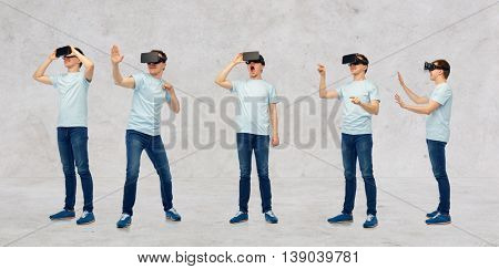 3d technology, virtual reality, entertainment, cyberspace and people concept - young man with virtual reality headset or 3d glasses set over gray concrete room background