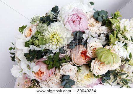 Wedding bouquet on white isolated background close up
