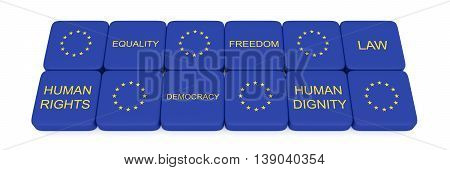 Values of the European Union on Scrabble pieces 3d illustration
