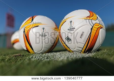 Europa League Football Balls On The Field
