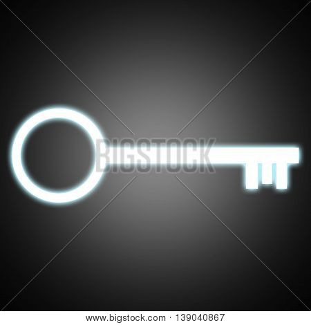 Illustration Key Icon , Key To Success , White Key Glowing Light Blue In Black Background