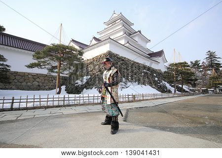 FUKUSHIMA, JAPAN - FEB 28,2014: Tsuruga Castle was built in 1384 and changed hands many times between the different rulers of the Aizu region.