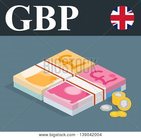 Abstract GBP banknotes and coins. Isometric style