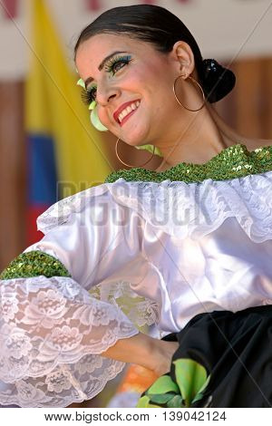ROMANIA TIMISOARA - JULY 10 2016: Dancer from Colombia in traditional costume present at the international folk festival