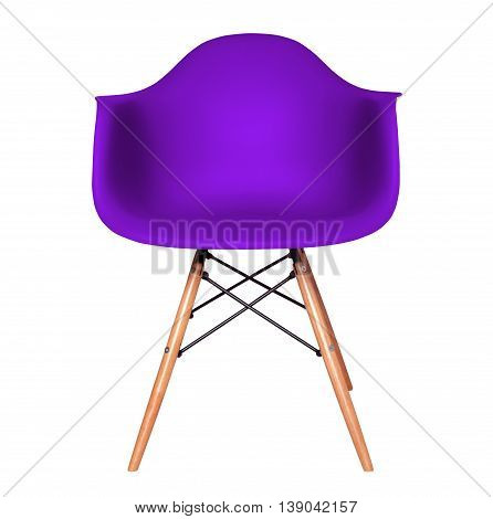 Violet color chair, modern chair isolated on white background. Plastic furniture chair cut out.