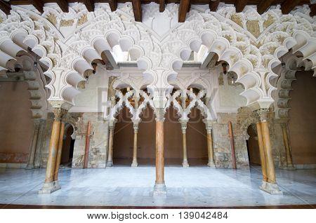 Taifal palace arches, Aljaferia Palace, Zaragoza, Aragon, Spain