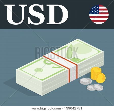 Abstract USD banknotes and coins. Isometric style