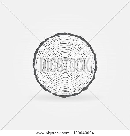 Cut tree trunk icon. Vector minimal tree trunk cross-section symbol. Wood concept sign or logo element