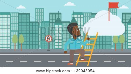 An african-american young businessman climbing up the ladder to get the red flag on the top of the cloud. Vector flat design illustration. Horizontal layout.
