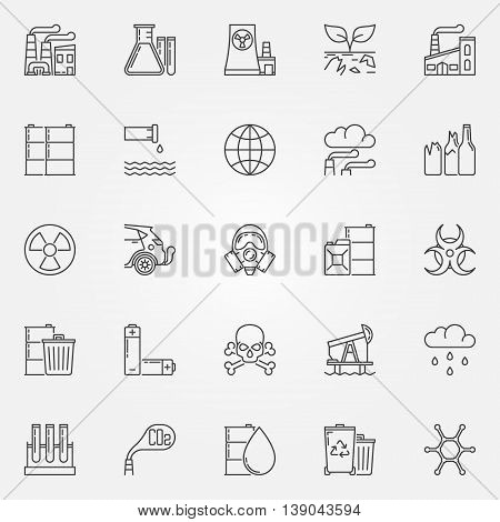 Pollution icons set - vector linear environmental pollution symbols. Soil and radioactive contamination signs in thin line style