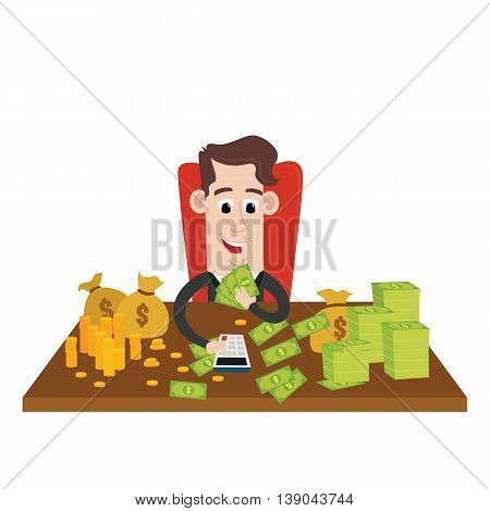Clipart picture of a rich businessman cartoon character counting wealth