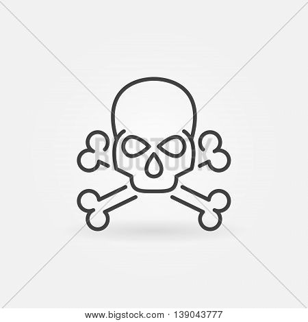 Skull linear icon. Vector thin line crossbones symbol or logo element in thin line style
