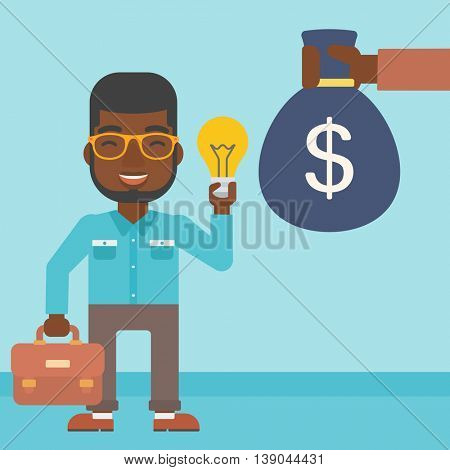 An african-american young businessman exchanging his idea bulb to money bag. Successful business idea concept. Vector flat design illustration. Square layout.