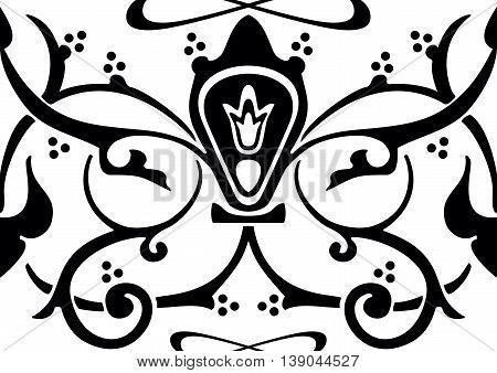 Arabic floral pattern in the form of a frieze, or band, seamless texture in vector graphics