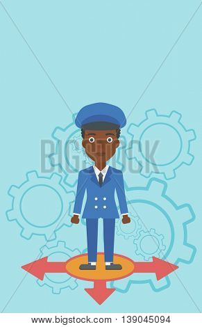 An african-american young woman standing on three alternative ways on a blue background with cogwheels. Concept of career choices. Vector flat design illustration. Vertical layout.