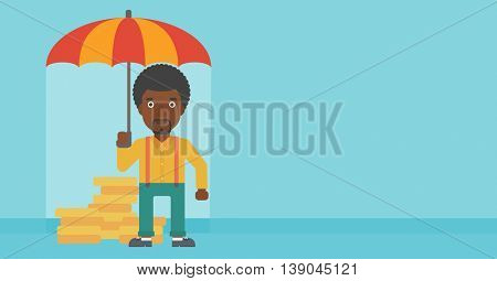An african-american young businessman standing in the rain and holding an umbrella over coins. Business insurance concept. Vector flat design illustration. Horizontal layout.