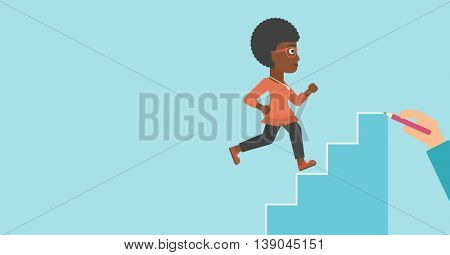 An african-american young business woman running up the stairs drawn by hand with pencile. Concept of business career. Vector flat design illustration. Horizontal layout.