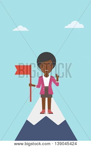 An african-american happy young leader business woman holding a red flag on the top of the mountain. Successful business concept. Vector flat design illustration. Vertical layout.