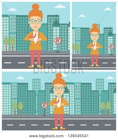 Young business woman opening her jacket like superhero on the background of modern city. Business woman superhero. Vector flat design illustration. Square, horizontal, vertical layouts.