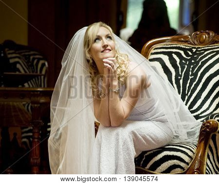 Bride At A Game Lodge With A Zebra Stripped Wing Back Antique Chair