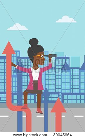 An african-american business woman standing on the top of arrow and looking through spyglass on the background of modern city. Vector flat design illustration. Vertical layout.