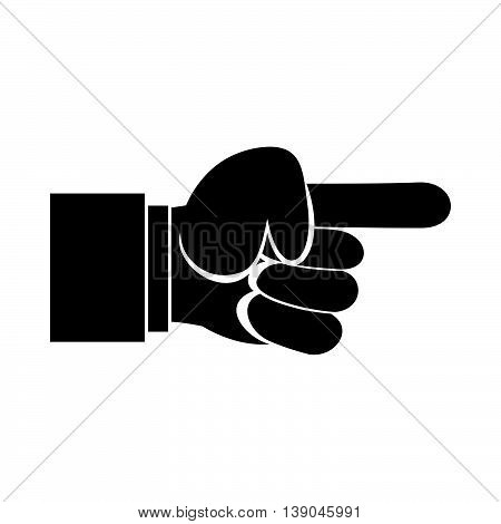 Pointing hand gesture icon in simple style isolated vector illustration