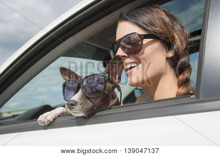 A Woman and dog in car on summer travel.