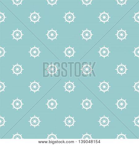 Tile sailor vector pattern with white rudder on blue background