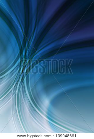 Abstract ultramarine blue background with intersecting green and white oval stripes