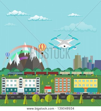 Flat design vector illustration city life and urban landscape. Aircraft or quadrocopter flying over the city. Train rides around the mountains with a rainbow. Drone flying in the sky