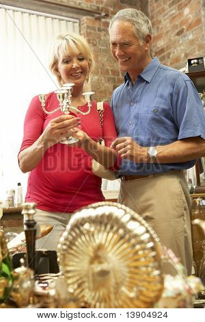 Couple shopping for antiques