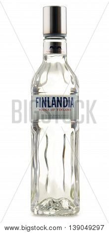 POZNAN POLAND - JULY 15 2016: distributed in 135 countries Finlandia is a brand of Finnish vodka owned by the Brown-Forman Corporation.